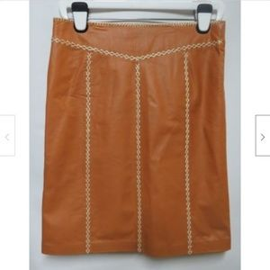 NWT Gap Caramel Leather Hand Stitched Skirt 8